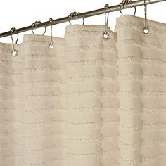 Park B Smith 72 X Retro Stripe Natural Cream Cotton Spa Shower Curtain Want
