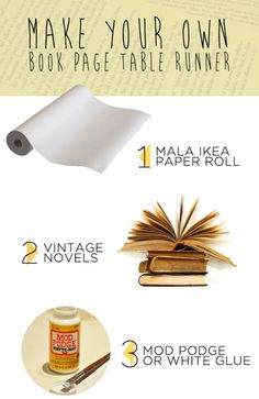 DIY vintage book page table runner