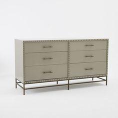 "Nailhead 6-Drawer Dresser | West Elm $1099 60""w x 18.5""d x 32.5""h."