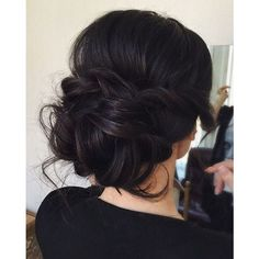 Chic messy wedding updo for straight hair to Inspire You ❤ liked on Polyvore featuring hair, hair styles and hairstyles