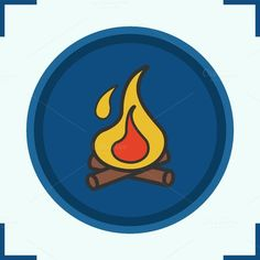 Campfire color icon. Vector