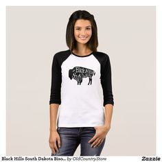 Black Hills South Dakota Bison Buffalo T-Shirt - 3/4 Sleeve Raglan Tshirt is shown, but you can choose any tee shirt style or tank top with this same design. #BlackHills