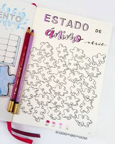 Bullet journal monthly habit tracker, puzzle piece drawings. | @conbdebujo