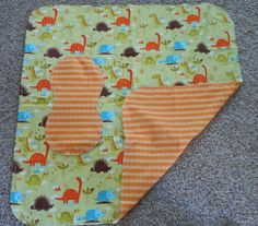 Hem Stitch Baby Boy Dinosaur - Flannel Receiving Blanket and Burp Cloth by TheRedGeranium on Etsy
