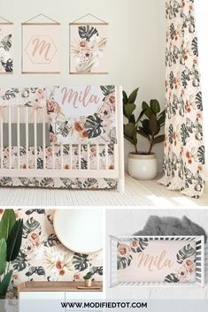 This boho baby bedding is perfect for your baby girl nursery. We offer the full boho nursery collection, including removable wallpaper! Baby Girl Crib Bedding, Nursery Bedding, Nursery Wall Art, Girl Nursery, Nursery Decor, Bohemian Nursery, Floral Nursery, Floral Wall Art, Tropical Girl