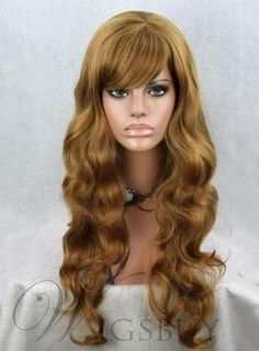 #WigsBuy - #WigsBuy Top Quality Long Loose Wave with Full Bang Synthetic Wigs 22 Inches - AdoreWe.com