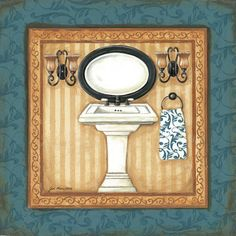 Shop for framed Blue Slipper Bath II by Jo Moulton. Frame Wall Decor, Frames On Wall, Wall Art Decor, Toilet Pictures, Art Pictures, Paris Chic, Painting On Wood, Painting Prints, Art Prints