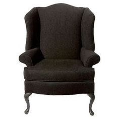 Sink into style with this stately wingback, showcasing ball-and-claw feet and rich black upholstery.