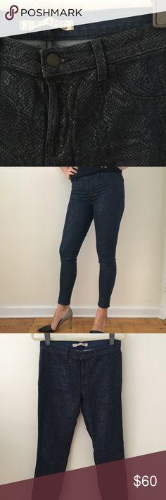 J Brand wax jeans Python snake print skinny coated wax jeans. J Brand Jeans