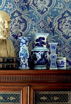 Blue and White Chinoiserie Ralph Lauren Style