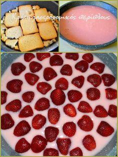 γλυκο ψυγειου3 Dessert Recipes, Desserts, Panna Cotta, Strawberry, Fruit, Ethnic Recipes, Food Cakes, Tailgate Desserts, Cakes