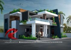 Rc Visualization is a growing Plan & Elevation Designing company. We are expert in architectural Planning, Elevation Designs, interior designs and realistic renderings. Modern Bungalow Exterior, Modern Exterior House Designs, Modern House Facades, Modern Architecture House, Modern House Design, Lego Architecture, Landscape Architecture, Architecture Foundation, Enterprise Architecture