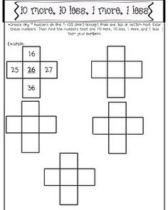 Activity for using a 100 board to find 1 more/1less and 10 more/10 less.
