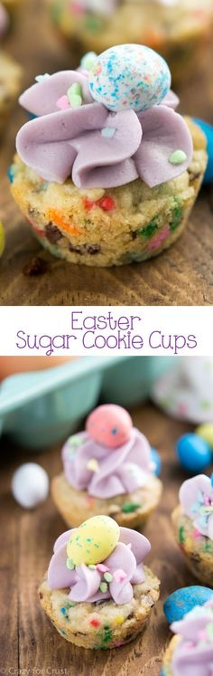 Easter Sugar Cookie Cups filled with sprinkles and topped with candy eggs! An easy and fast Easter dessert that the kids will love.