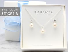 Freshwater Pearl Silver Jewelry Set, Bridesmaid gift