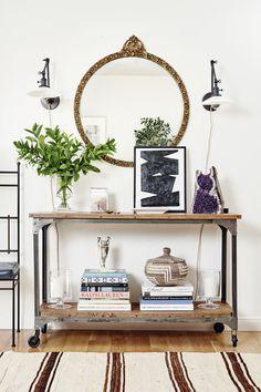 Entry Vignette With Vintage Mirror - Liz Foster Interiors