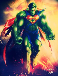 #Hulk #Fan #Art. (Hulk/Superman Crossover) Pencils By:Hector E Rodriguez.Colors By:Richard Williams.