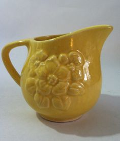 Vintage  Yellow Ceramic Creamer. .