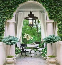 Love this entire setting, and the topiaries are fabulous in those urns