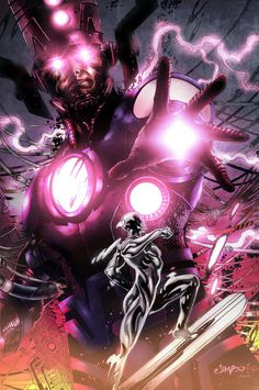 Galactus vs The Silver Surfer by Jimbo Salgado by Dc Comics Superheroes, Marvel Villains, Marvel Comics Art, Hulk Marvel, Marvel Heroes, Captain Marvel, Ms Marvel, Comic Book Characters, Marvel Characters