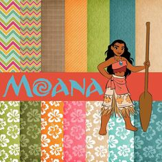 kit digital moana clip art, digital paper Moana Disney