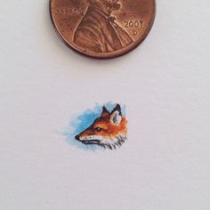 Artist Sam Larson paints tiny nature scenes that are smaller than a penny of mountains, rivers, and wild animals