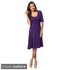 24/7 Comfort Apparel Women's Solid Knee-length Dress