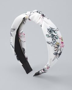 Sketched florals lend visual interest to the trending knot headband. x Polyester/plastic Custom designed exclusively for WHBM. Handcrafted with nickel-free and lead-free metal. White Headband, Knot Headband, Headbands, Mark Price, Headband Styles, Other Accessories, Black House, Floral Tie, Knots