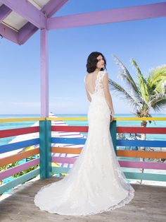 Two Piece Slim Lace And Tulle Overlay And Charmeuse Slip Wedding Gown