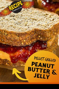 A delicious twist on traditional peanut butter and jelly. The best lunch (or dinner) ever! Grilling Tips, Grilling Recipes, Sandwich Recipes, Lunch Recipes, Top Recipes, Great Recipes, Pellet Grill Recipes, Good Food, Yummy Food
