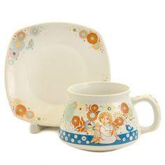 Guardian Angel Cup & Saucer Set $12.00, Contact us to order st.elisabeth.shop@gmail.com #CatalogOfGoodDeeds #clay #ceramic #poterry #cup #teaset #tea #handmade #craft #home #gift #present #handpainted #saucersets #tableware #ceramicworkshop
