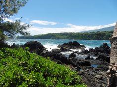 Maui, Hawaii. Keanae Park with a ruggedly beautiful lava rock beach on the Hana Highway..