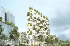 the façades will be covered by 2,000 trees, shrubs, and plants – a green surface equivalent to a hectare of forest.