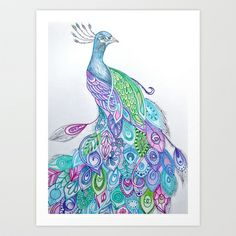 Peacock Art Print by Rachel Herworth - $19.00