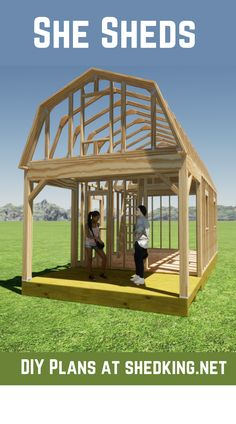 This 12x22 barn shed with huge loft and 6' front porch makes for the perfect livable she shed. These diy shed plans come complete with shed building guide, shed materials list, and email support. Build a she shed for doing your crafts, hobbies, or just the perfect shed to get away from it all. Shed House Plans, Shed Building Plans, Diy Shed Plans, Barn Plans, Cabin Plans With Loft, Small Cabin Plans, Livable Sheds, Living In A Shed, 3d Building Models