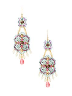 Pink & Blue Floral Drop Earrings by Miguel Ases at Gilt
