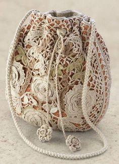 ☯☮ॐ American Hippie Bohemian Style ~ Boho handmade rose crochet bag!