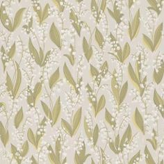 Liljekonvalj (479-21) - Sandberg Wallpapers - A pretty lilly of the valley design in a hand painted effect. Showing in green and white on grey. other colour ways available. Please request a sample for true colour match.