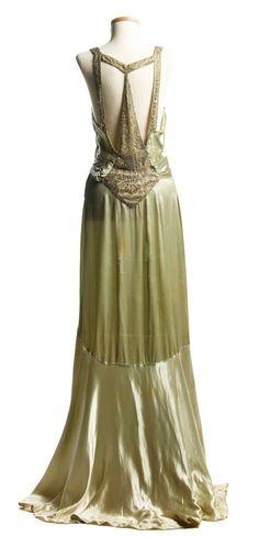 Evening Dress (back view): ca. 1932, satin, Art Deco design rhinestone ornamentation on the back.