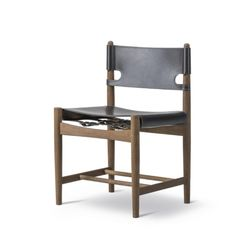 SPANISH DINING CHAIR BY BORGE MOGENSEN OAK WHITE OIL/BLACK LEATHER