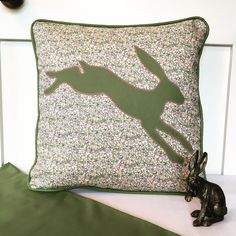 Excited to share the latest addition to my #etsy shop: Hare cushion cover, hare design, hare cushion, Liberty print fabric, country style, piped cushion, hare gift, appliqué cushion, home decor,