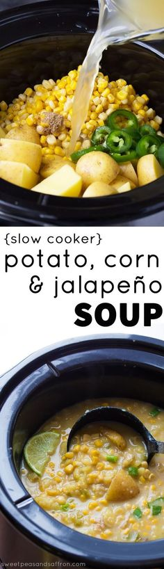 An easy and healthy vegan slow cooker potato corn soup recipe with jalapenos. (Vegan Slow Cooker Recipes)