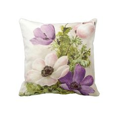 Vintage Anemone Throw Pillow