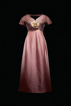 Beaded and sequined pink satin gown, by Christian Dior, French, 1963. Worn by Gina Lollobrigida.