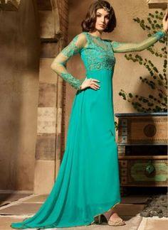 Turquoise Embroidery Thread Resham Work Georgette Designer Anarkali Salwar Suit http://www.angelnx.com/Salwar-Kameez/Anarkali-Suits