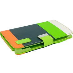 Vertical Wallet Case for Samsung Galaxy Note 3 - Lime Green/Navy/Orange