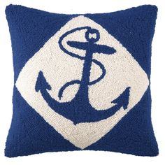 Blue and white anchor pillow