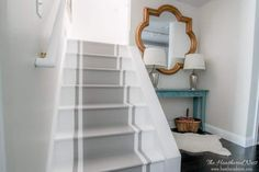 32 Incredible DIY Staircase Makeover Ideas to Refresh the Entire Home Atmosphere – Redoing a home decoration and makeover job is a laborious project and the whole process can be a nightmare … Painted Wood Floors, Painted Stairs, Painted Staircases, Staircase Makeover, Stair Redo, Staircase Remodel, Attic Remodel, Balustrades, Bright Decor