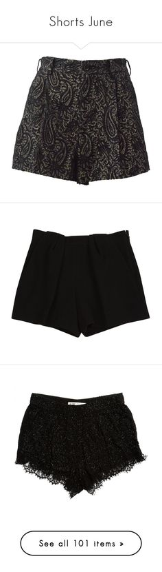 """Shorts June"" by ravenleeart ❤ liked on Polyvore featuring shorts, black, mini shorts, mini short shorts, black and gold shorts, hot shorts, hot short shorts, bottoms, pantaloncini and women clothing shorts"