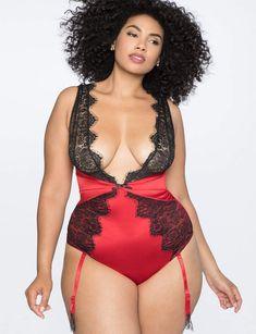 ca45e1e30a Eyelash Lace Plunge Neckline Bodysuit Pretty Lingerie